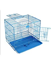 The Pets Company Double Door Folding Metal Dog Cage with Paw Protector, for Puppies and Kittens, Extra Small, Blue, 18 Inch