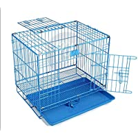 The Pets Company Double Door Folding Metal Dog Cage with Paw Protector, for Medium Dogs, Large, Blue, 36 Inch