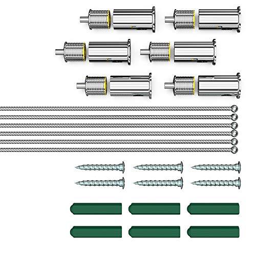 Auralum® Seilaufhängung Einbauset/Einbaukit für LED Panel 120x30