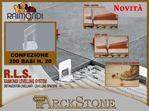 ARCKSTONE confezione da 200 basi piastrelle mattonella pavimento rivestimento spessore 12-20 mm per fuga da (Pinza Delle Mattonelle)