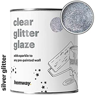 Hemway 1L Clear Glitter Paint Glaze (Silver) for Pre-Painted Walls, Ceilings - Emulsion, Acrylic, Latex - Wood, Varnish, Dead Flat, Matt, Soft Sheen or Silk (Choice of 25 Glitter Colours)