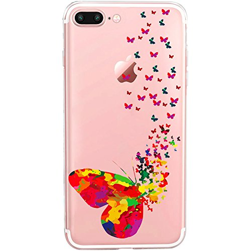 GIRLSCASES® | iPhone 8 Plus / 7 Plus Hülle | Im Meerjungfrau Motiv Muster | in bunt | Fashion Case transparente Schutzhülle aus Silikon Schmetterling
