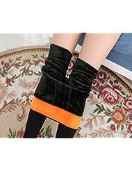 &zhou El uso de polainas en otoño e invierno además de terciopelo acolchada pie caliente pantalones slim , black , one size