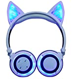 LIMSON Cat Ear Bluetooth Kopfhörer für Kinder, mit LED-Licht Ganze Leuchtende Faltbare Headphones Wireless,Mikrofon und 3,5-mm-Audioeingang mit Sattem Bass Headset LX-BBL108 (Weiß)