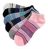 12 Paar Damen Sneaker Mädchen Socken Kurzsocken 80% Baumwolle (39-42, Streifen B324)