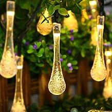 Isightguard 30 19.7ft Cadena Luces Solares LED Impermeables de Protección Solar de Cristal Gota de Agua Lámparas Solares para el Jardín / Inicio / Boda / Navidad / Partido / Fiesta / la Decoración de la Calle (Blanco Cálido)