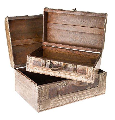 Lot de 2 valises en bois - style ancien