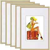 WOLTU #315-5 5er Set Bilderrahmen mit Passepartout Kunststoff Rahmen, Glasvorderseite