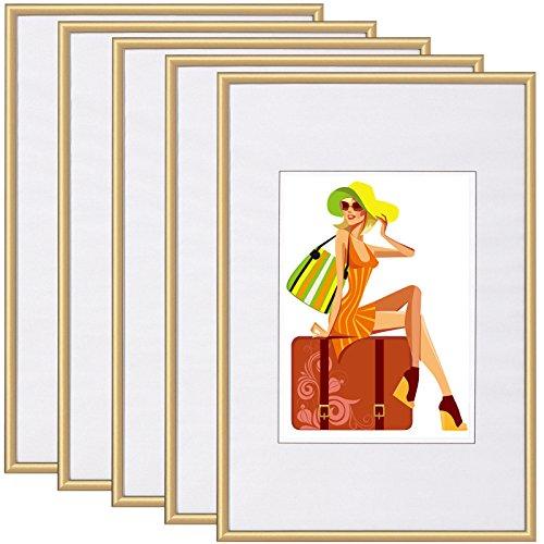EUGAD #315 Bilderrahmen New Life Style , Bildergalerie Foto Rahmen Galerie Collage , Kunststoff und Echtglas , mit Passepartout , Gold , 10x15 cm, 5er Set (Gold-bilderrahmen 10 X 13)