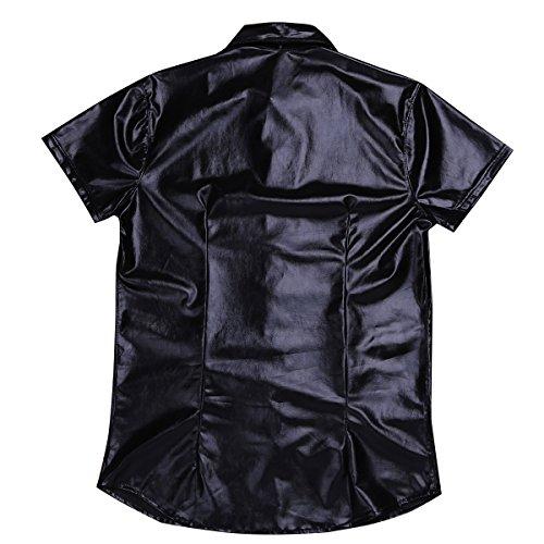 YiZYiF Männer Muskel Shirt Wetlook Herren Unterhemd T-Shirt Tops Tights Reizwäsche Fitness Slim Schwarz T-shirt (Revers )