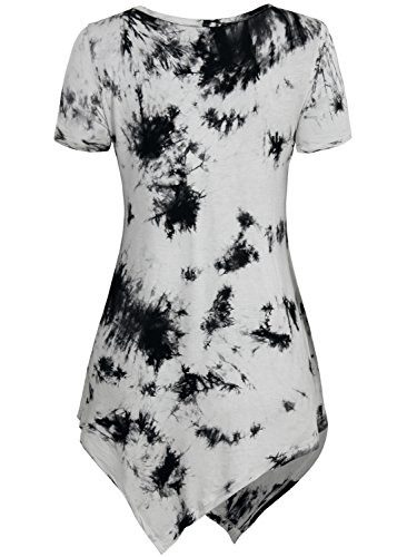 DJT Damen Rundkragen Kurzarm Asymmetrisch T-Shirt Sommer Tunika Tie-Dye Grau