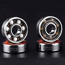 8 Piezas Rodamientos de Skate - Rodamientos de bolas de cerámica para Longboard / Roller Skate / Skateboard, 608 RS ABEC 9 Ceramic Skate Bearings, 8mm x 22mm x 7mm - Plata