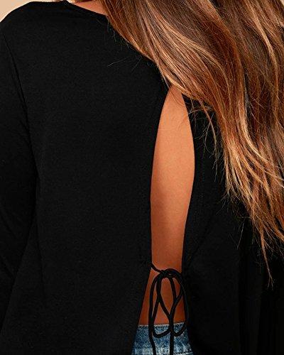 Anyu Femme Chemisiers Col Rond Sweatshirt Sans Retour Tops Blouses Noir