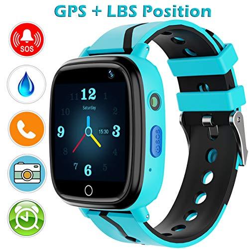 Kinder Uhr Smart Watch, GPS Telefon Uhr, LBS Smartphone mit SOS Notruf Telefon Funktion Voice-Chat Telefonieren, Mitteilungen Senden und Empfangen Telefonuhr für Kinder (Blau)