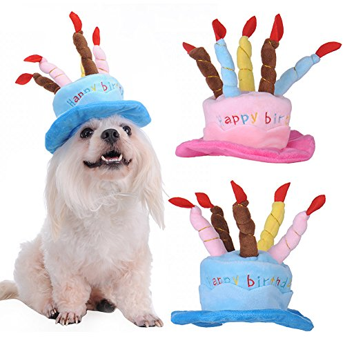 Awhao Funny Pet Happy Birthday Hat With Cake And Candles Design For Small Puppy Dog