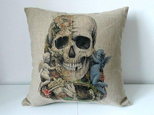 Fashioncase angolo di teschio, a forma di rana, in cotone e lino copriletto decorativo, Cuscino, federa per cuscino da divano 45,72 cm (18