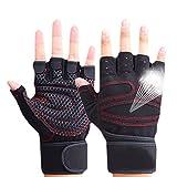 Hrph Guantes deportivos Gimnasio Guantes medio dedo respirable del levantamiento de pesas con mancuernas fitness Gimnasio Hombres Mujeres Tamaño de los guantes M / L / XL