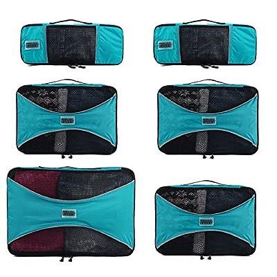PRO Packing Cubes | Ensemble économique de sacs de rangement de voyage 6 pièces | Sacs économisant 30% de place | Organiseurs de bagage ultralégers | Idéal pour les sacs de voyage & valises de cabine