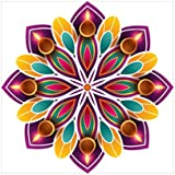 NISH! Rangoli Sticker #010 (Vinyl, Medium - 18in X 18in, 100 Pieces) | Rangoli Stickers Floor | Rangoli Floor Stickers | Rangoli Stickers For Wall | Rangoli Stickers For Doors | Diwali Rangoli Stickers