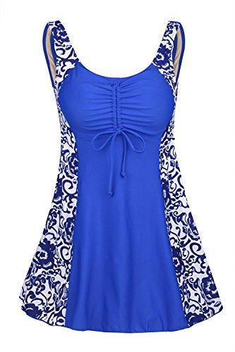 Plus Size Shorts (Ecupper Damen Einteiler Badeanzug Gepolstert Bauchweg Badekleid mit Shorts Blumen Muster Plus Size Blau-Porzellan DE 56-58)
