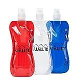 Fjälltid 3er Set faltbare Trinkflaschen (Auslaufsicher, flexibel und wiederverwendbar, mit Karabiner, Ideal zum Wandern, Fahrradfahren, Yoga und Kraftsport)