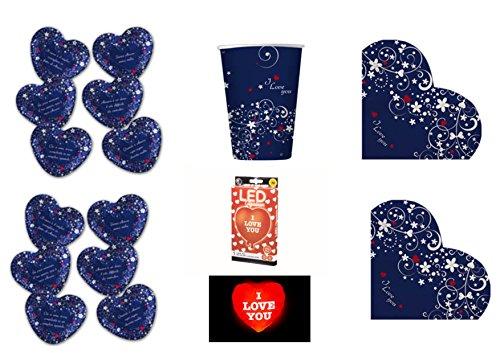 Dolce 12 Licht (Koordinierte Love Message Valentinstag Thema Liebe Verliebte CDC Kit. 25-(12Teller, 16Becher, 16Servietten, 1Ball Herzform mit Licht LED))