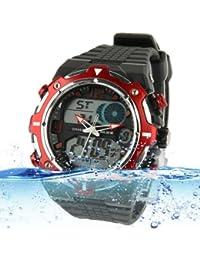 Sport Waterproof Reloj con Stainless Steel Back Carcasa (Red)