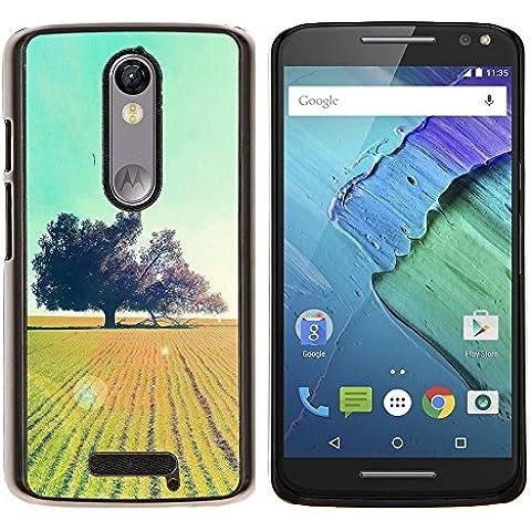 El campo Glow Árboles- Metal de aluminio y de plástico duro Caja del teléfono - Negro - Motorola Droid Turbo 2 / Moto X
