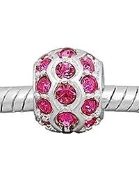 Cuentas de creer © 1 x plateado rosa piedras grano del encanto del espaciador para // Chamilia Pandora pulsera del encanto del estilo Troll.