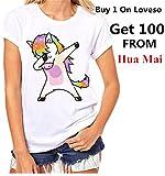 Bekleidung Tops Loveso Sommerkleider Damen Mode Jung Nettes Kühles Einhorn Unicorn Muster Kurzschluss Hülsen Weiß Baumwolle T-Shirt Top Bluse ((Größe):42 (2XL), Weiß)