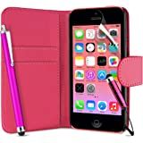 Supergets� Flip Pocket PU Leather Case Cover For Apple Iphone 5C / 5 C+ Screen Protector , Touch Screen Stylus and Polishing Cloth Hot Pink ( Not compatible with Iphone 5 , 5S , IP4 )