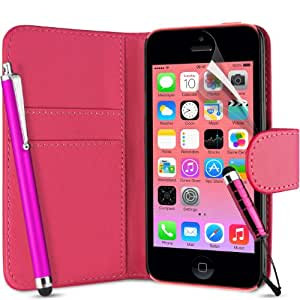 Supergets® Flip Pocket PU Leather Case Cover For Apple Iphone 5C / 5 C+ Screen Protector , Touch Screen Stylus and Polishing Cloth Hot Pink ( Not compatible with Iphone 5 , 5S , IP4 )