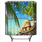 YLXINGMU Duschvorhang 3D Seeansicht Hut Und Gläser Digitaldruck Wasserdichte Badezimmerdekoration Polyester-Umweltfreundliches Material 180Cm(W)×200Cm(H)