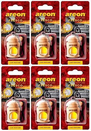 Areon Fresco Auto Parfüm Beverly Hills Autoduft Hängend Flasche Glas Duftflakon Parfüm Flakon Holz Lufterfrischer Set Aufhängen Anhänger Spiegel Schwarz Geruch Erfrischer 4ml 3D ( Pack x 6 )