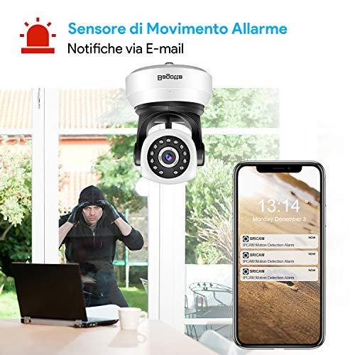 Bagotte HD 720P Telecamera Sorveglianza Wifi Interno, Videocamera IP Wireless Camera, Visione Notturna a Infrarossi , Audio Bidirezionale, Sensore di Movimento Pan/Tilt, Compatibile con iOS & Android - 8