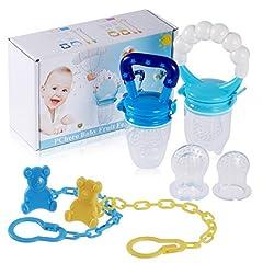Idea Regalo - PChero – Confezione da 2 ciucci da svezzamento per bambini (uno con anello in argento) corredati di clip per agganciarliedi 3tettarelle in silicone di ricambio