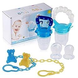 PChero 2pcs Baby Fruchtsauger Schnuller - Einer mit Ringing Handgrip - mit Schnuller Clips und 3 Silikon Nippel Ersatz (Blau)