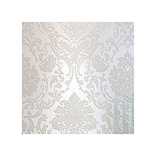 Godagoda Wand Tapete Vliestapete 3D Selbstklebend Weiss Beflockung Wandaufkleber Wohnzimmer Hintergrund Schlafzimmer Umweltschutz Deko 53cmx500cm