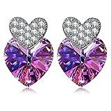 SIVERY 'Herz zu Herz' Ohrringe mit Swarovski Elemente, Ohrringe Damen, Schmuck Damen, Geschenke für Frauen