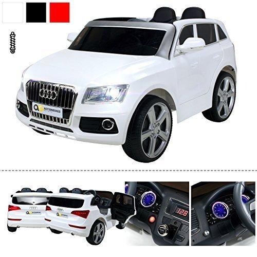 Kinder Elektroauto Audi Q5 Lizenziert - Ledersitz, 2 x 35 Watt Motor (Weiß)
