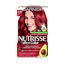 Garnier Nutrisse Red Hair Dye Permanent, Up to 100 Percent Grey Hair Coverage, with NEW 5 Oils Conditioner - 6.60 Fiery Red