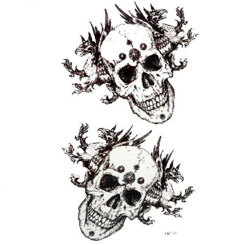 Crâne et os croisés en noir et blanc refroidir étanche et la sueur des hommes faux tatouages