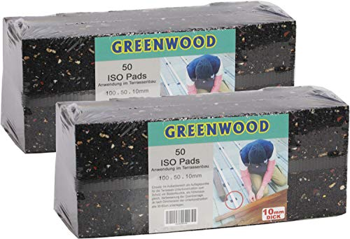 HPS® 100 Stück 10mm - Gummipad 10x5cm, Terrassenpad, Gummigranulat, für den Terrassenbau. Diffusionsoffene Gummimischung verhindert Staunäße, als Unterlage für Unterkonstruktionen im Terrassenbau
