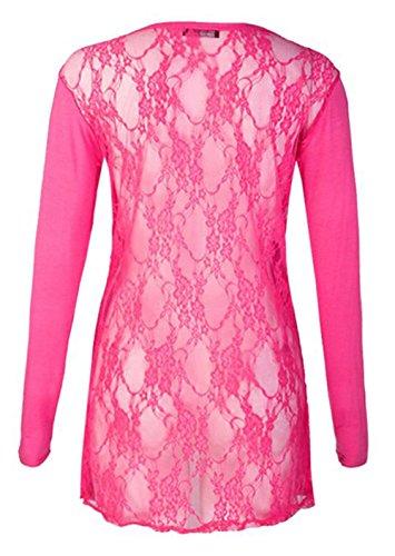 Friendz Trendz -Women's Full Lace Back Langarm Open Boyfriend Strickjacke Fuchsia