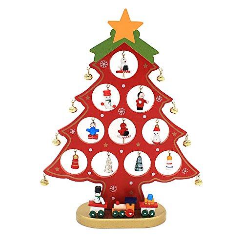 Gosear Mini Hölzerne Weihnachten Baum Tabelle Dekoration Xmas Ornament Decor Geschenk für Startseite Office Shop Fenster Weihnachten Partei Rote