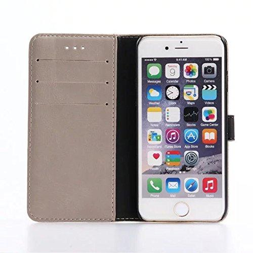 "inShang iPhone 7 Coque 4.7"" Housse de Protection Etui pour Apple iPhone7 4.7 Inch,Coque Avec support fonction, Pochette super- utile, Wallet design with card slot Crazy Horse pattern Grey"