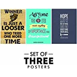 Motivational Posters For Office And Study Room - Set Of 3 Inspirational Wall Quotes| Home Decor |Quotes Decorative Poster - B078Y7115L