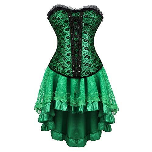 Grebrafan Brocade Lace Boned Renaissance Corsets with Fluffy Pleated Layered Tutu Skirt (EUR(34-36)...