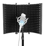 Neewer Paravento Schermo Fonoassorbente d'Isolamento per Microfono – Pieghevole a 3 Sezioni con Schiuma d'Assorbimento per Microfoni a Condensatore Registrazioni Impianti da Studio (Nero)
