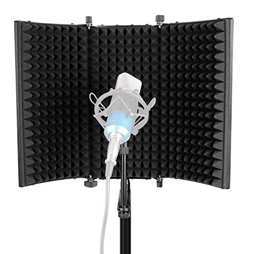 Neewer Mikrofon Isolation Schallschutz - Faltbare dreifach faltbare Studio Mikrofon Schalldämpfende Schaum Reflektor für jedes Kondensatormikrofon Studio Aufnhame Ausrüstung (schwarz)